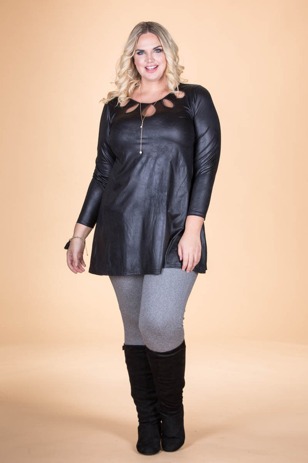 Count on Me Tunic - Black Faux Leather