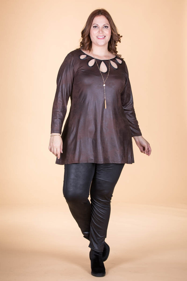 Count on Me Tunic - Brown Faux Leather