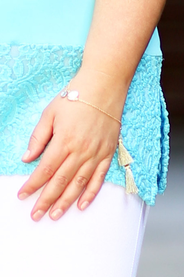 Disk Charms Tasseled Drawstring Bracelet - Gold