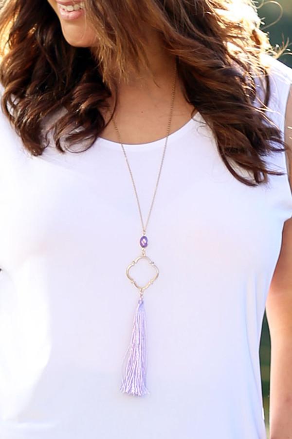 Floral Pendant & Tassel Necklace - Gold/Lilac