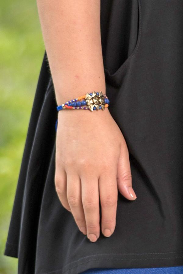 Native Beaded String Bracelet - Blue