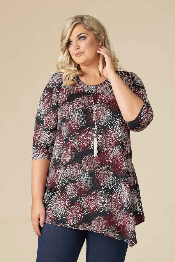 SAY IT OUT LOUD TUNIC - MAROON PRINT