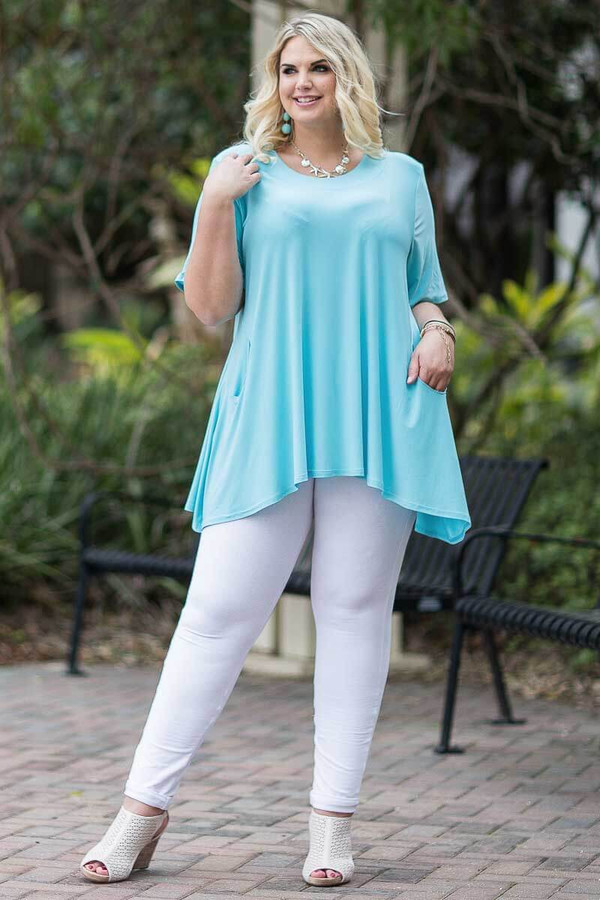 Fair Weather Short Sleeve Tunic - Aqua