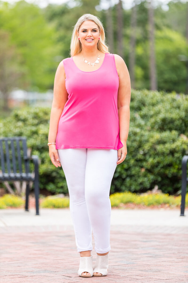 Every Question Answered Sleeveless Top - Fuchsia