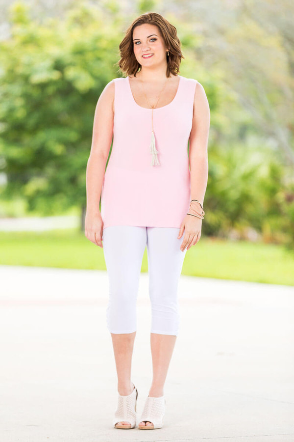 Every Question Answered Sleeveless Top - Baby Pink
