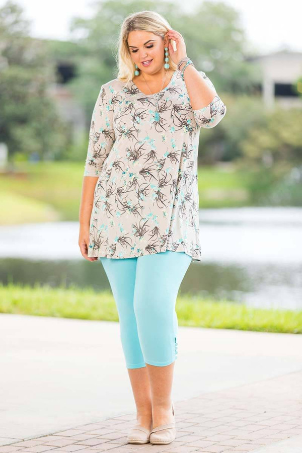 Beautifully Simple Tunic - Grey Climbing Flowers Print