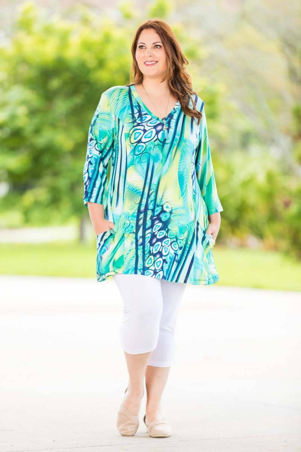 Fitted Pocket Tunic - Tropical Paradise