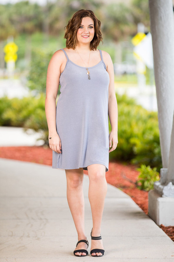 Perfectly on Point Tank Dress - Light Grey