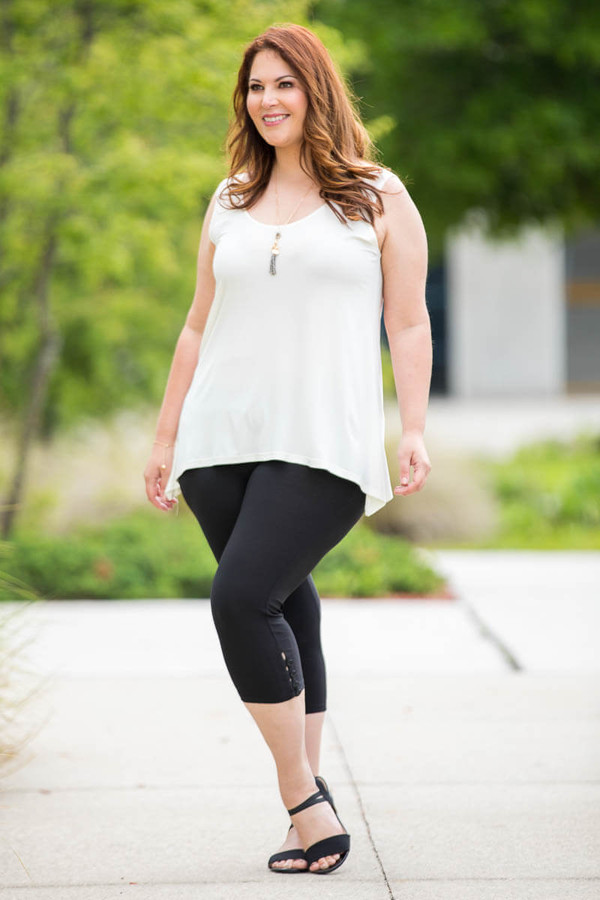 Easy as 1, 2, 3, 4-Button Leggings - Black