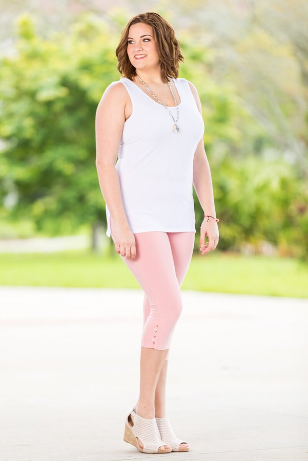 Easy as 1, 2, 3, 4-Button Leggings - Rosa