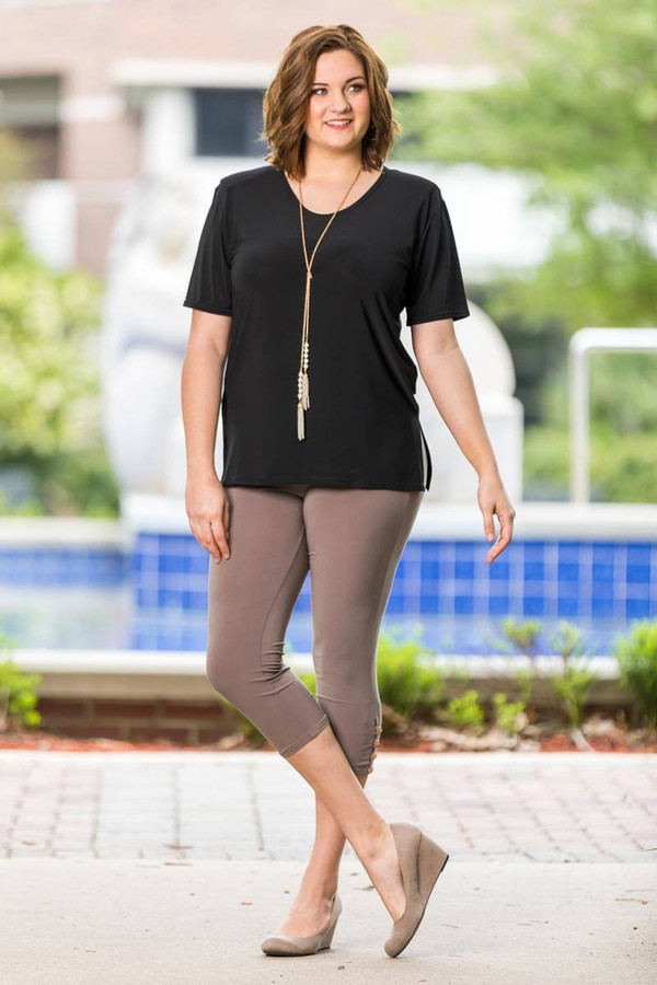 Easy as 1, 2, 3, 4-Button Leggings - Taupe