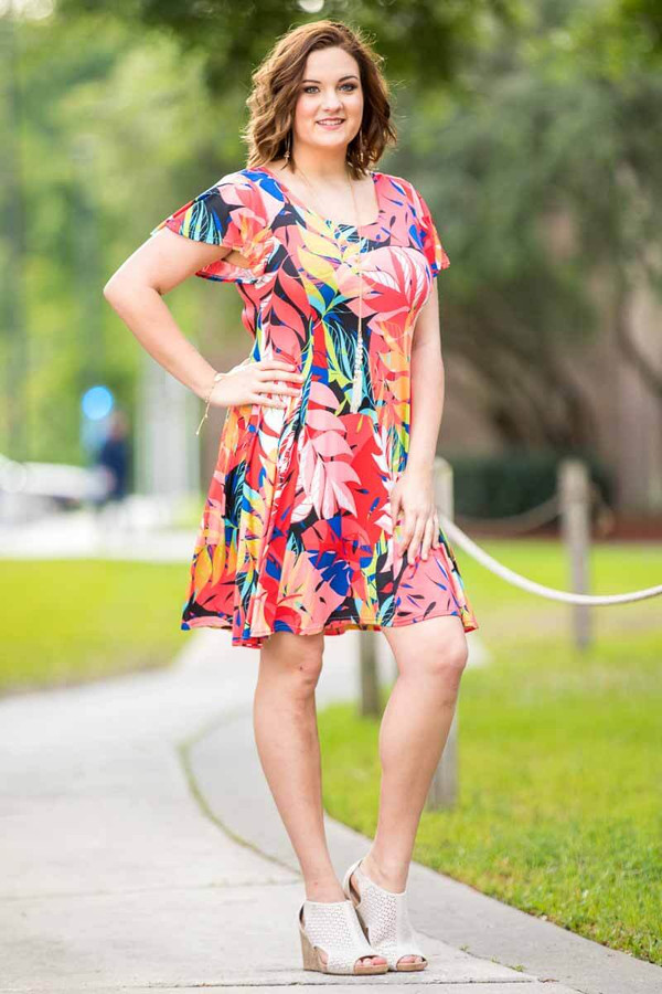 Better Than Ordinary Blouson Dress - Summer Leaves Print
