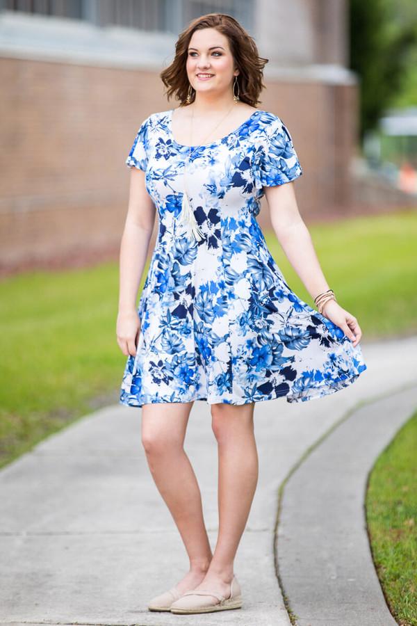 Better Than Ordinary Blouson Dress - Blue Hawaiian Print