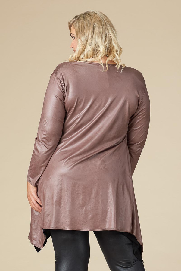 Saturday Morning Open Front Cardigan - Taupe Faux Leather