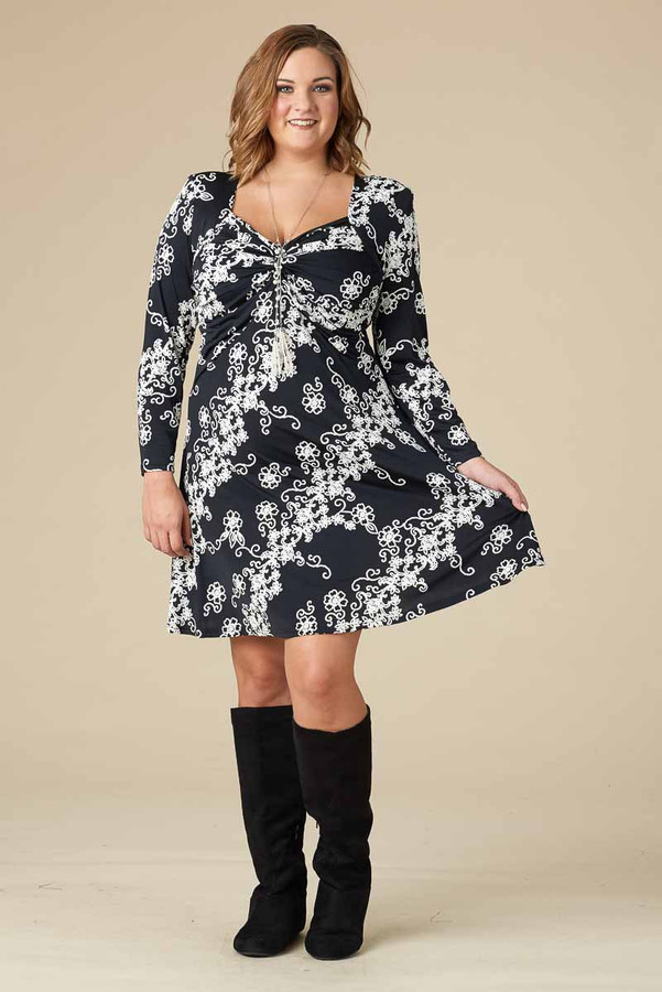 Take Me Dancing Dress - Black Rope Print