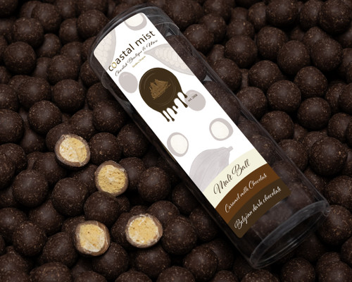 Malt balls covered with Belgian caramelized milk chocolate and dark chocolat