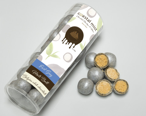 Malt balls covered with earl grey flavored Belgian white chocolate