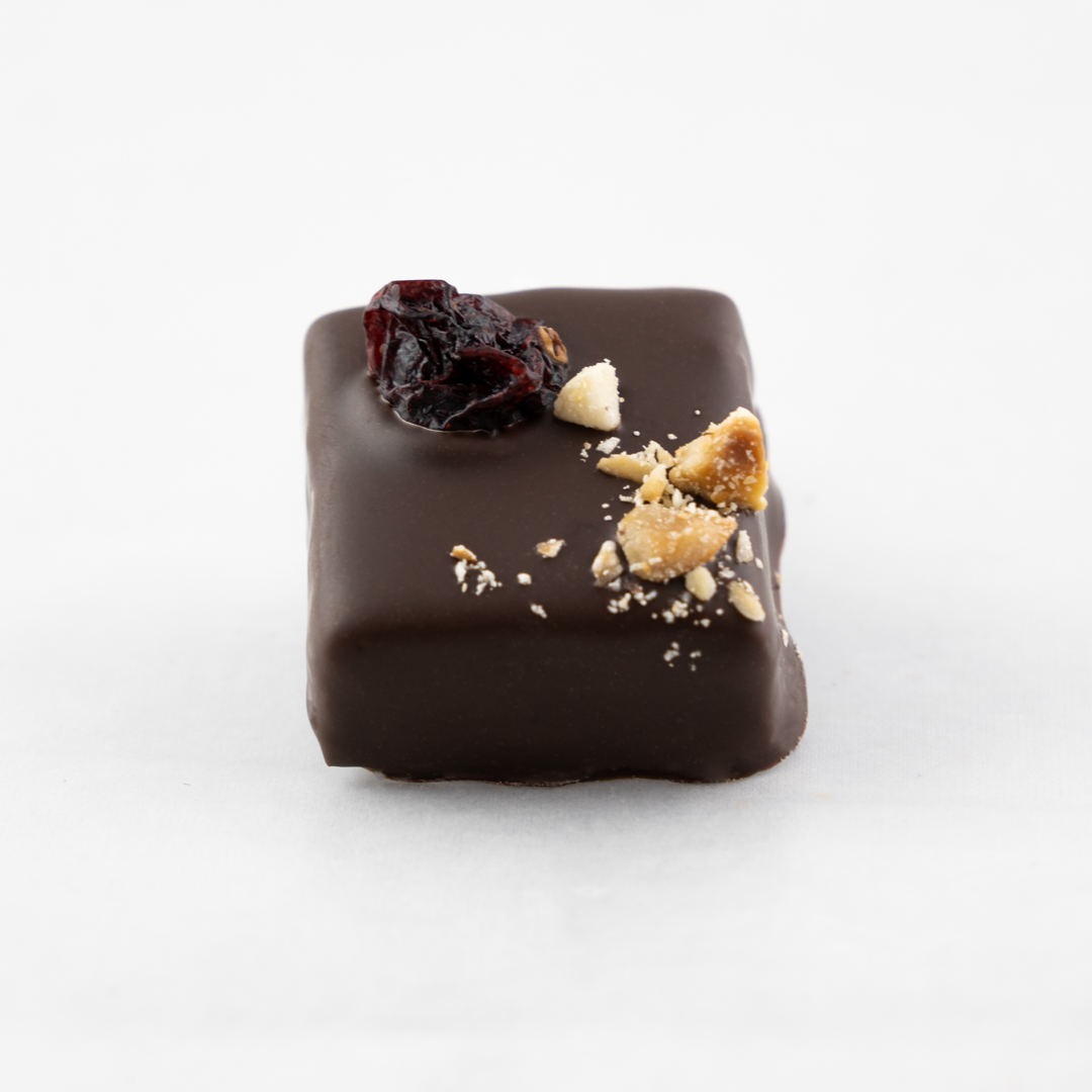 Soft nougat with dried cranberries and roasted hazelnuts in dark chocolate