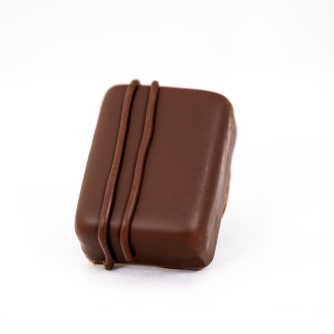 Hazelnut melt in Belgian dark chocolate