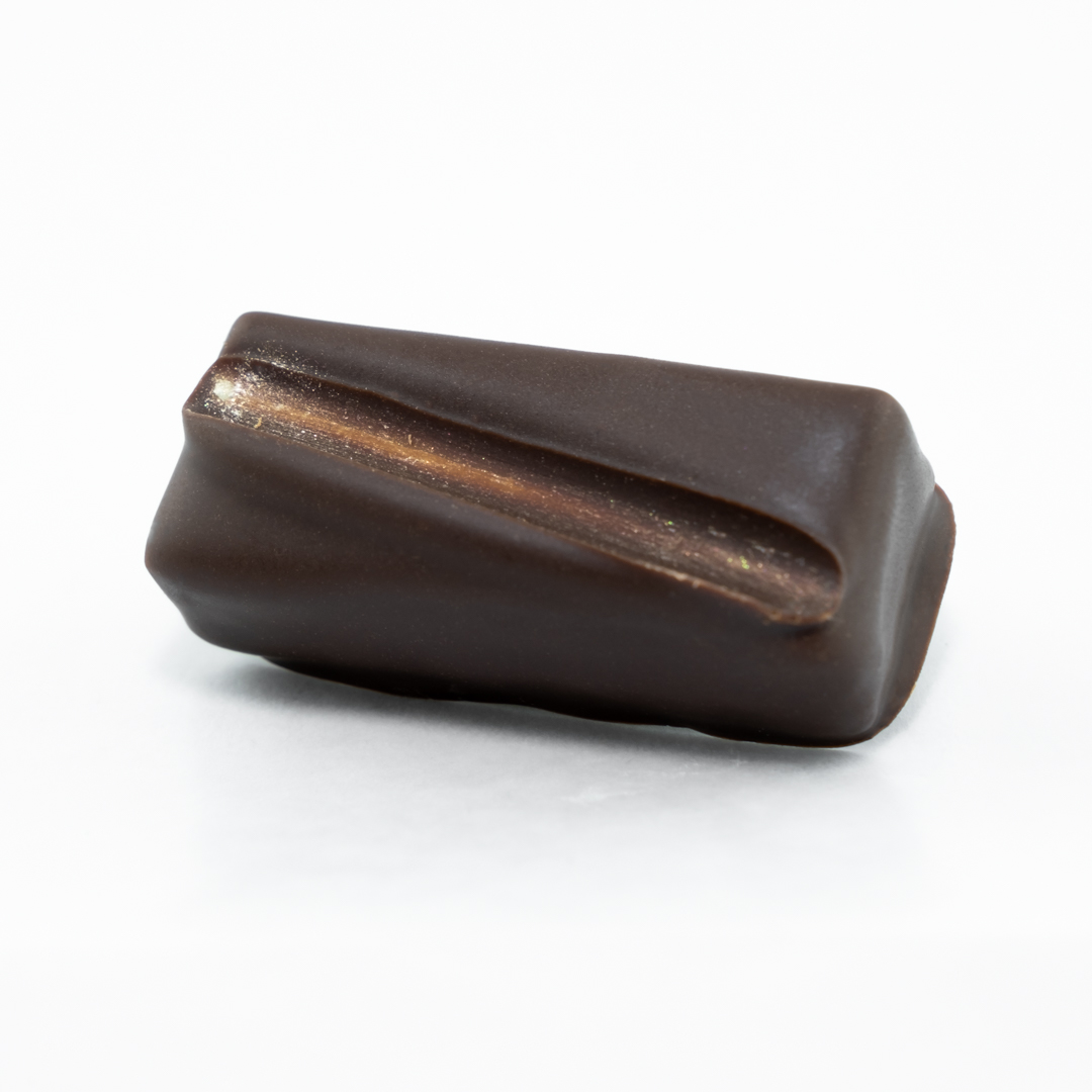 White chocolate and passion fruit enrobed in Belgian dark chocolate
