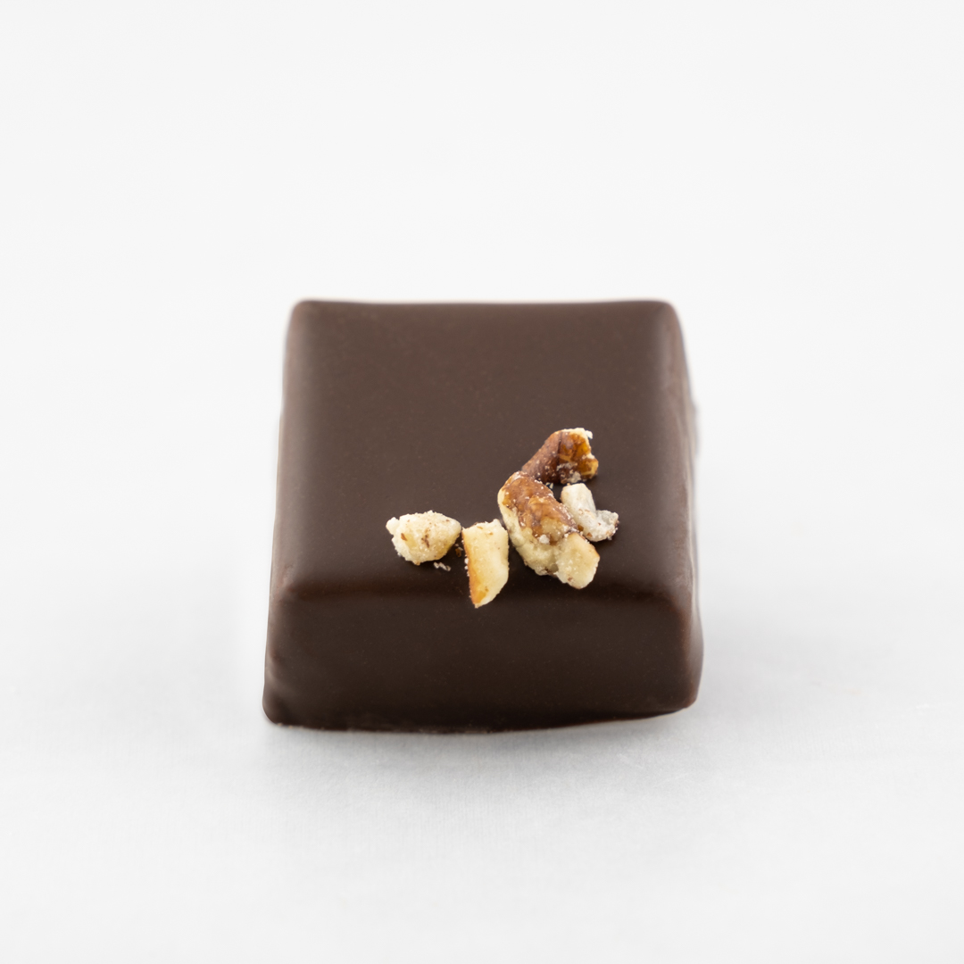 Pecans and salt caramel in dark chocolate