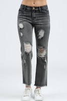 POL DESTROYED WIDE LEG CROPPED JEANS