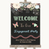 Shabby Chic Chalk Welcome To Our Engagement Party Personalised Wedding Sign