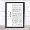 Kasabian Wasted White Script Song Lyric Print