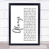 Erasure Always White Script Song Lyric Print