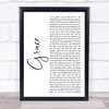 Charlie and the bhoys Grace White Script Song Lyric Print