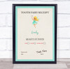 Teal Border Tooth Fairy Receipt Personalised Certificate Award Print