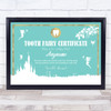 Tooth Fairy Excellent Care Teal Personalised Certificate Award Print