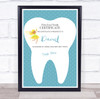 Blue First Lost Tooth Fairy Personalised Certificate Award Print