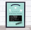 Tooth Fairy Check List Teal Personalised Certificate Award Print