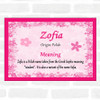 Zofia Name Meaning Pink Certificate