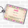 Sally Name Meaning Bag Tag Keychain Keyring  Floral