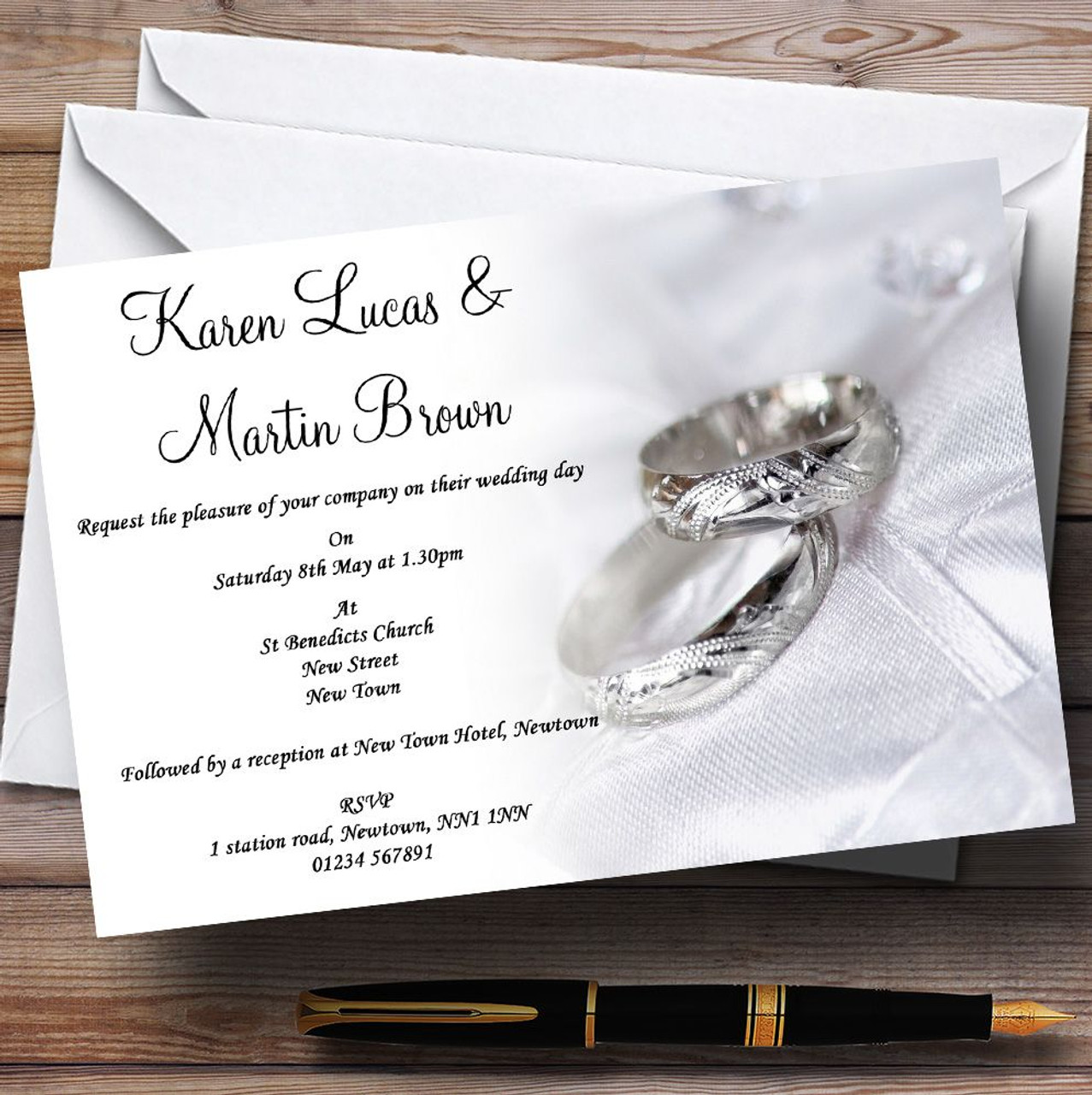 Classy White And Silver Rings Personalised Wedding Invitations The