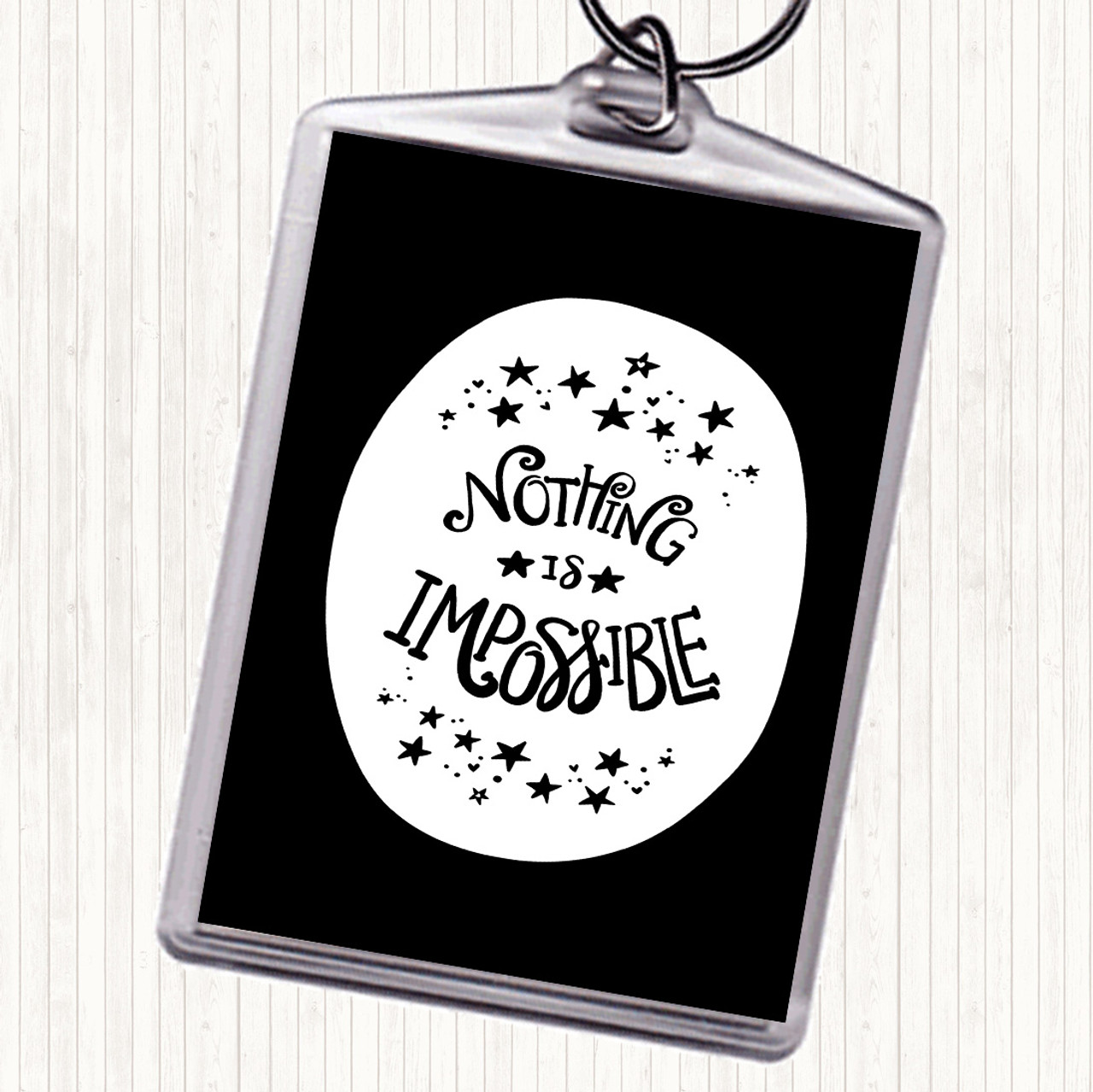 Blue White Impossible Unicorn Inspirational Quote Bag Tag Keychain Keyring