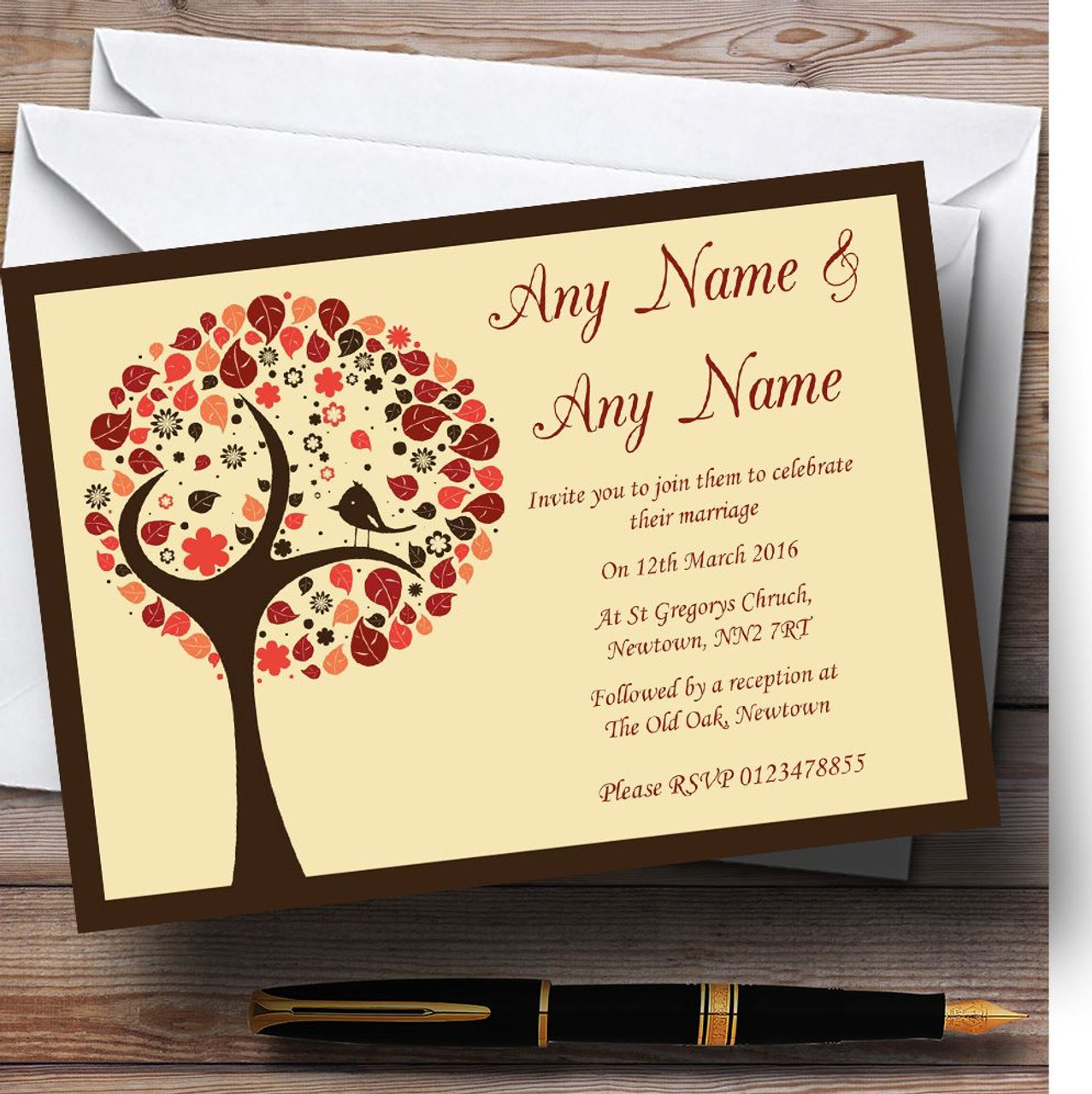 Shabby Chic Bird Tree Brown Vintage Personalised Wedding Invitations