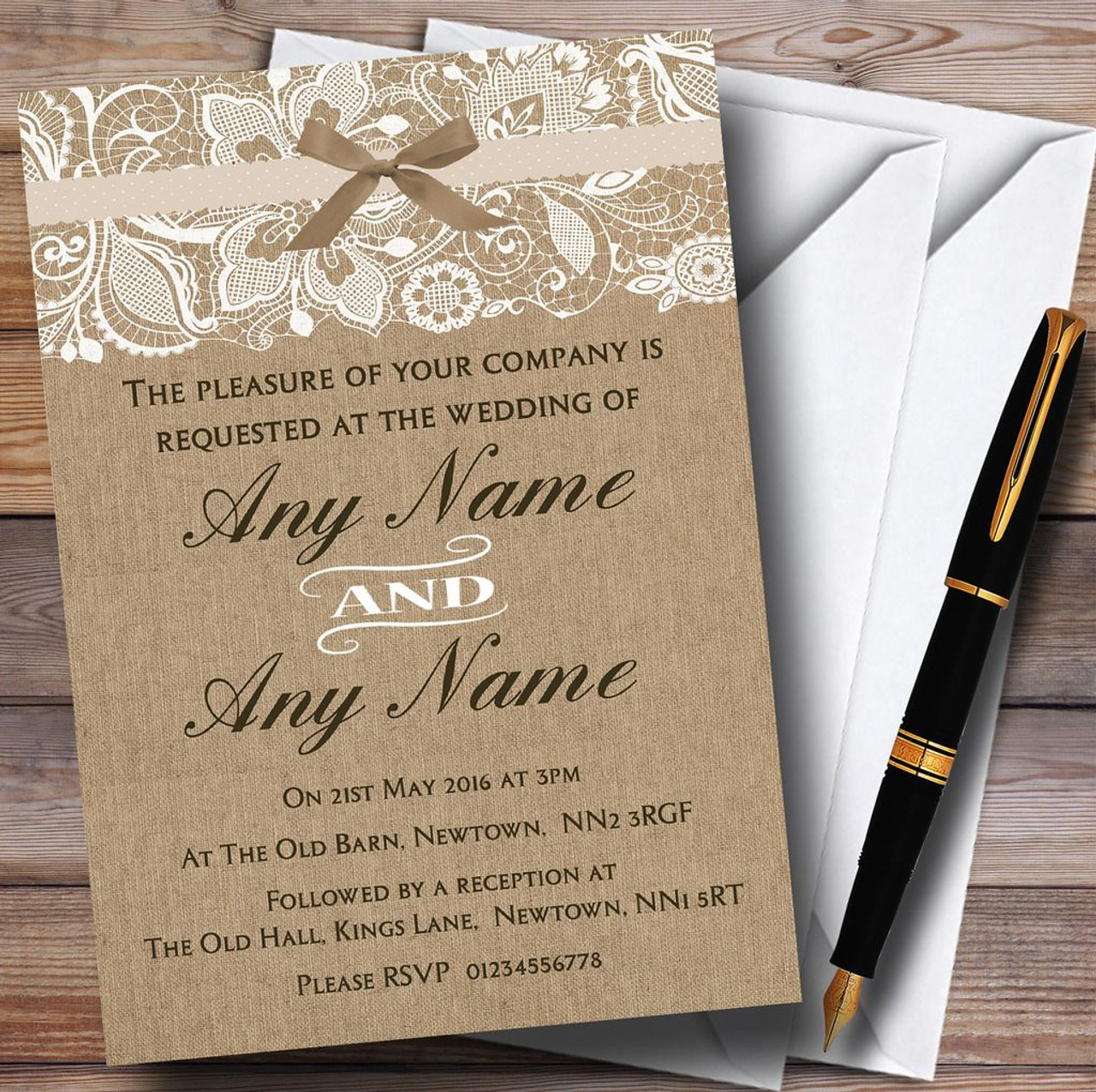 Vintage Burlap Lace Personalised Wedding Invitations The Card Zoo