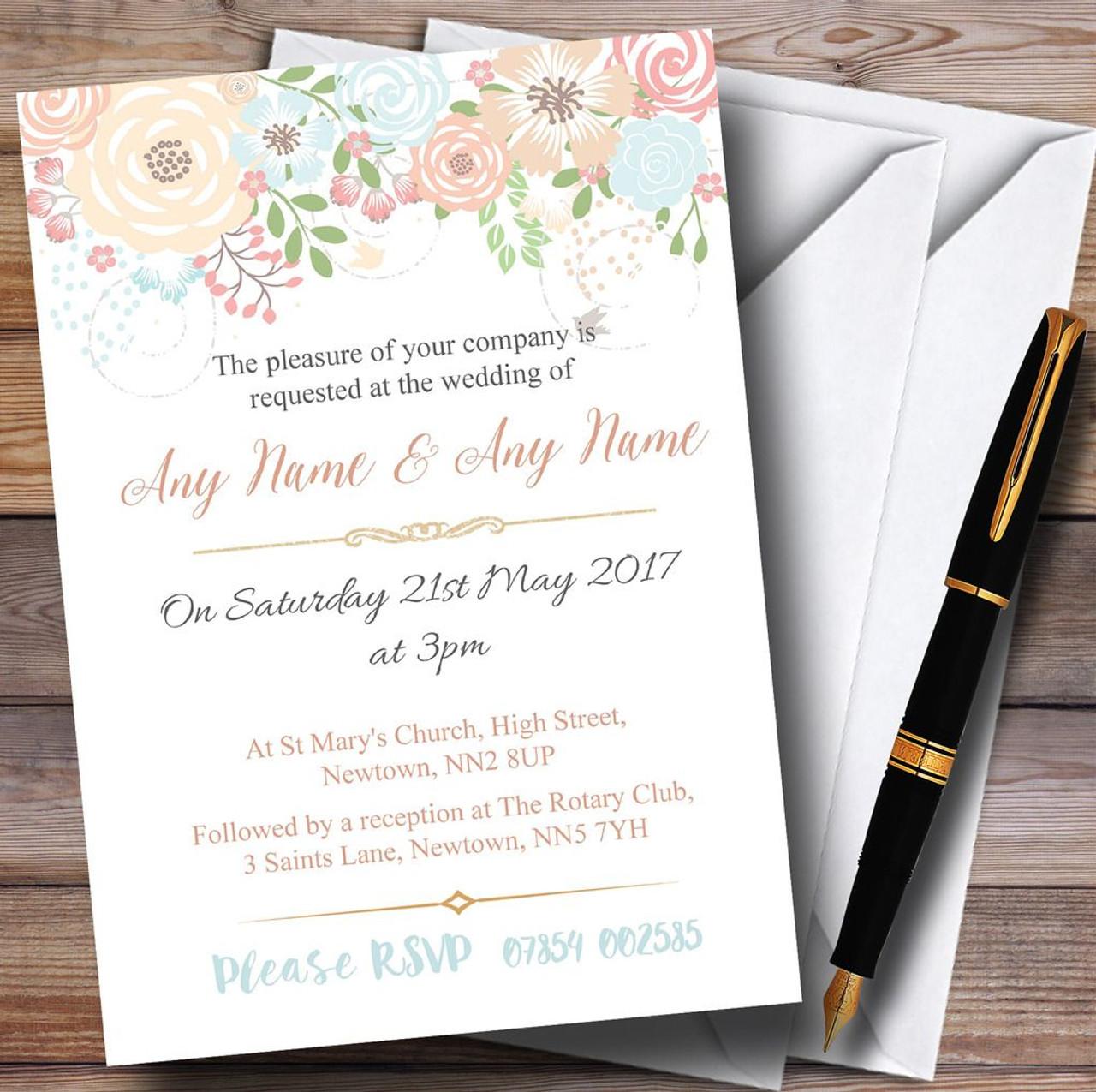 Baby Blue Damask Personalised Wedding Invitations Day Evening F