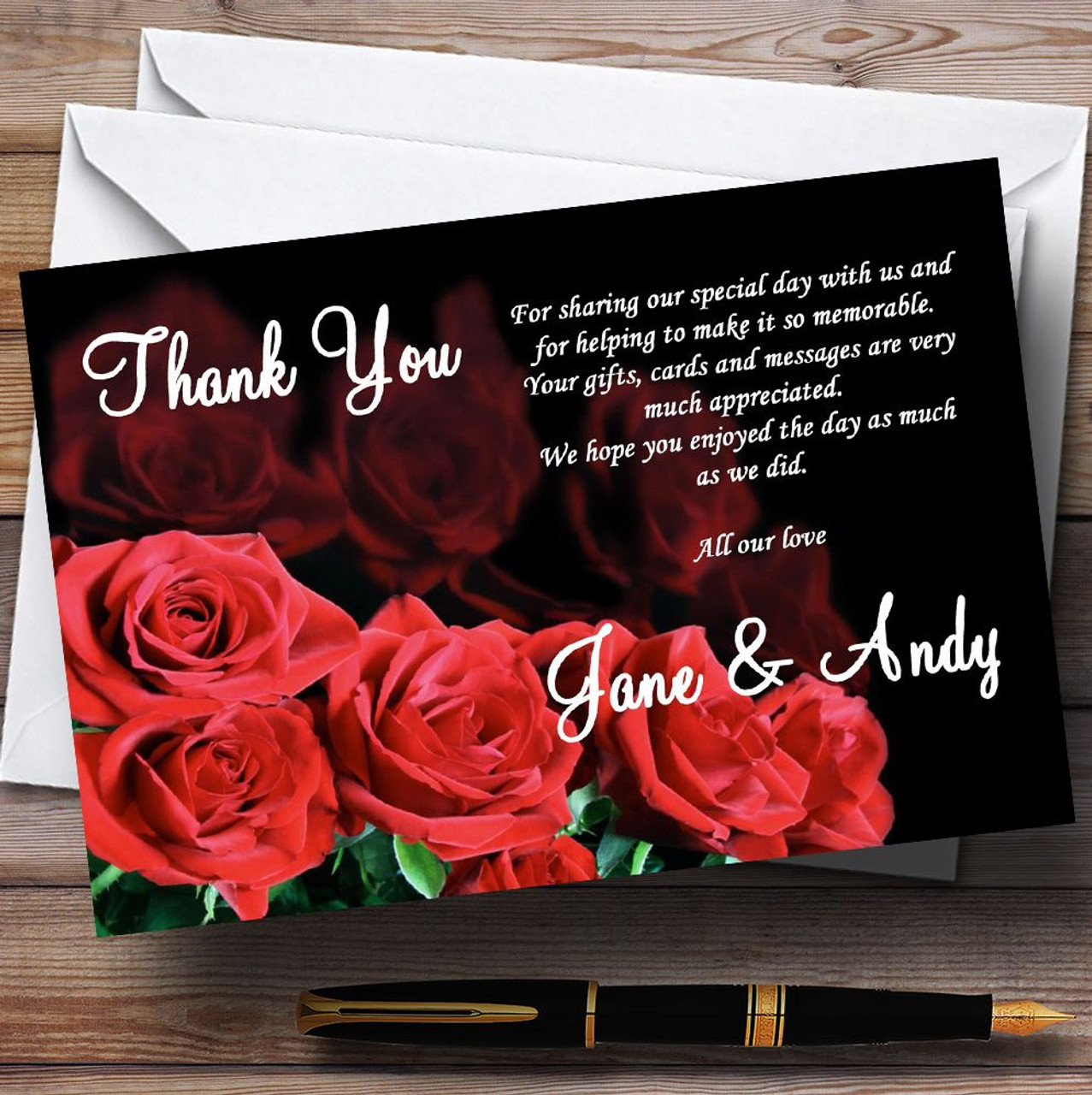 Gorgeous Deep Red Rose Personalized Wedding Thank You Cards