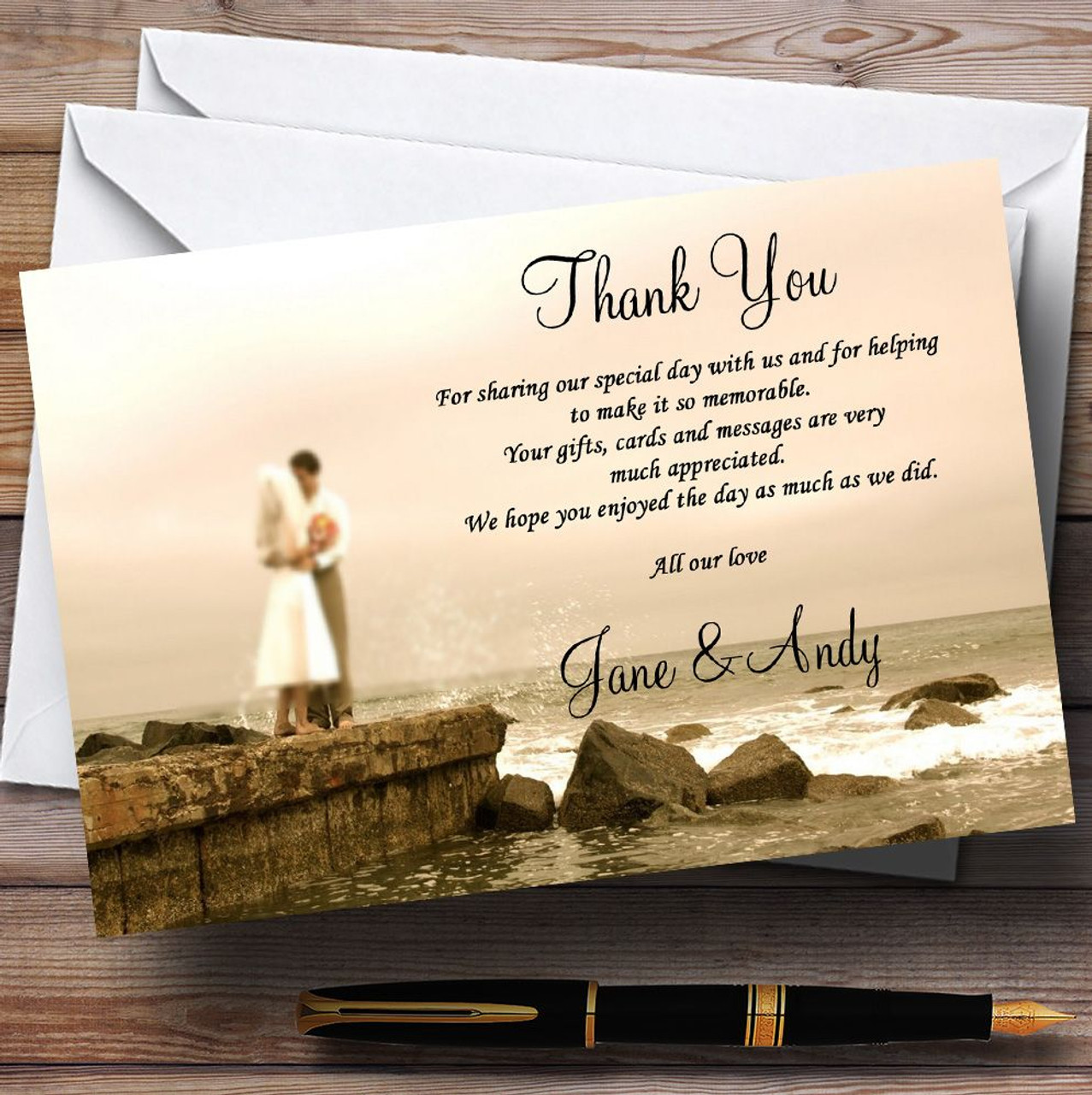Wedding Thank You Cards.Romantic Couple On The Beach Personalised Wedding Thank You Cards