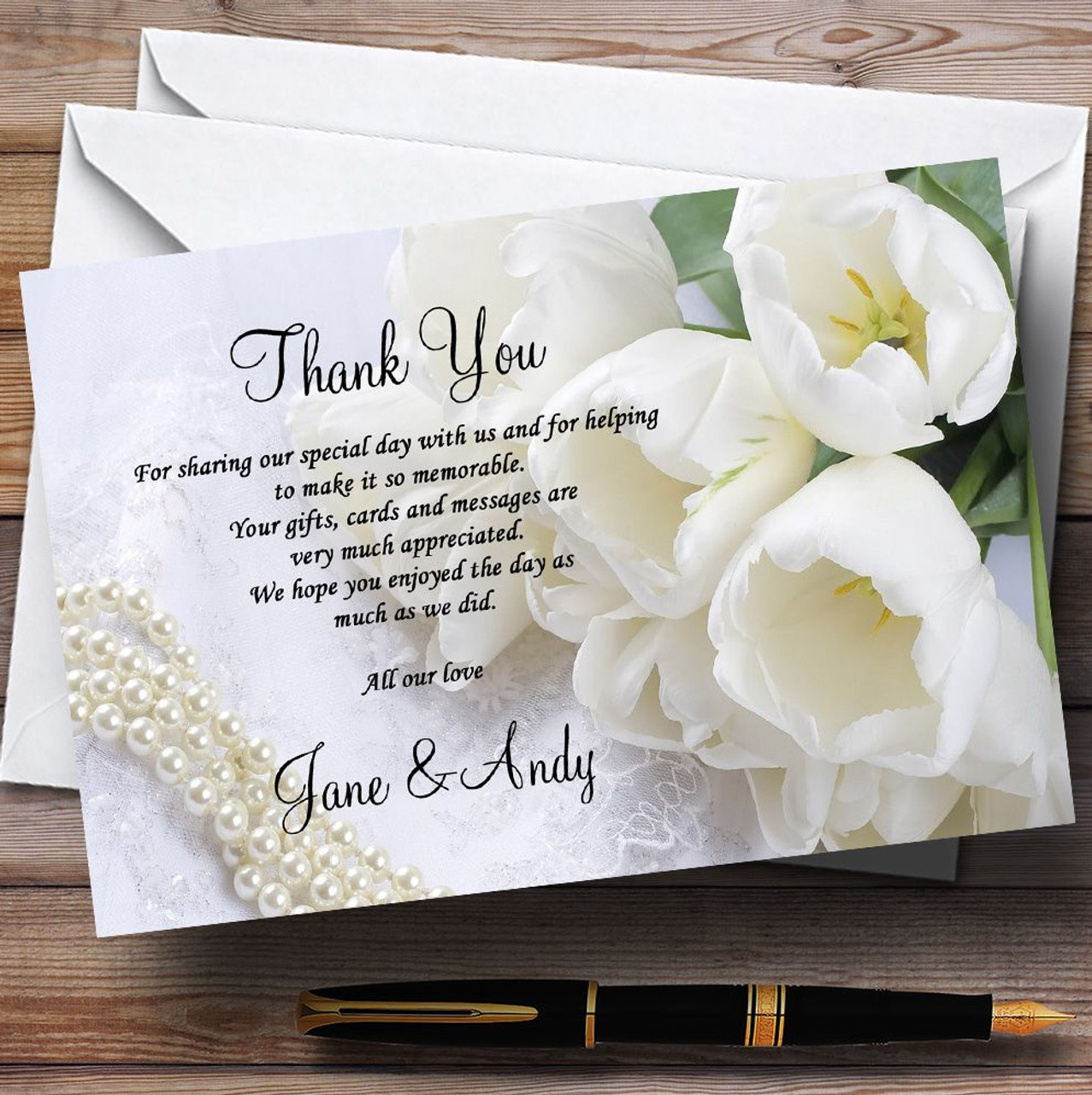 Wedding Thank You Cards.White Rose And Romantic Lace Personalised Wedding Thank You Cards