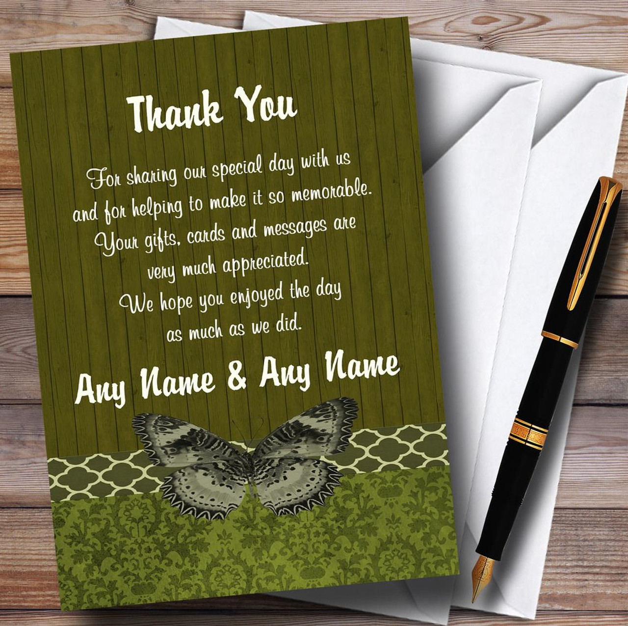 Mint Green Vintage Floral Damask Butterfly Personalized Wedding Thank You Cards