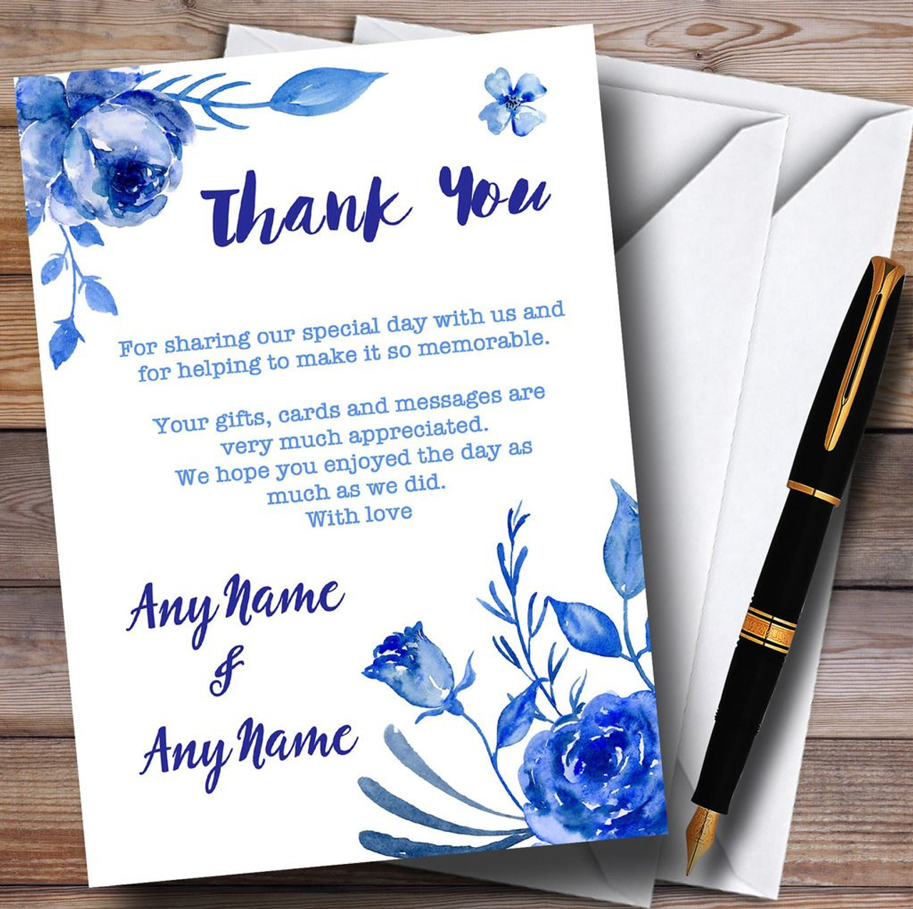 Personalised Vintage Wedding Wish Poem Card Fantasy Floral Blue on Chalkboard