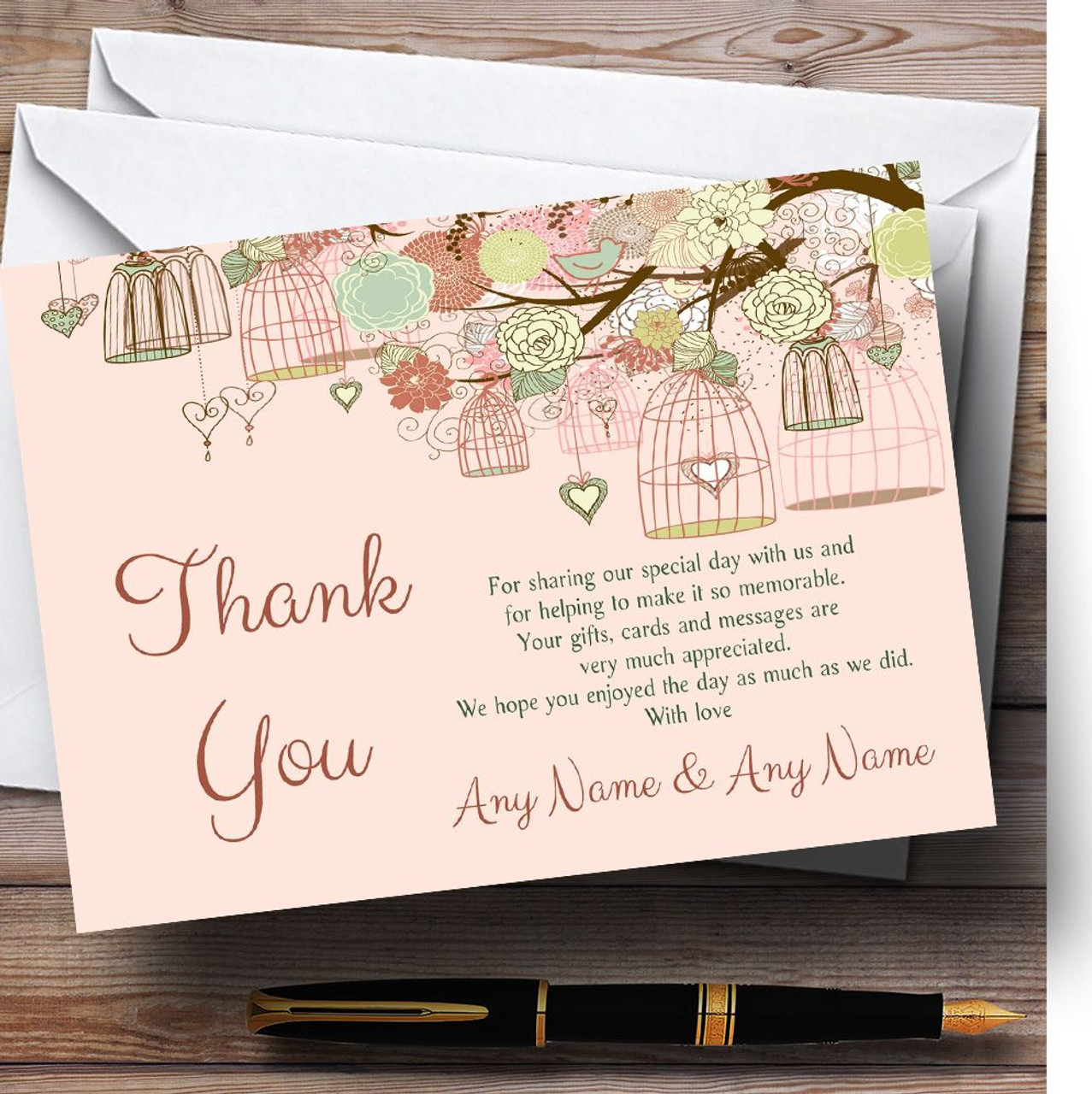 Vintage Shabby Chic Birdcage Coral Personalised Wedding Thank You