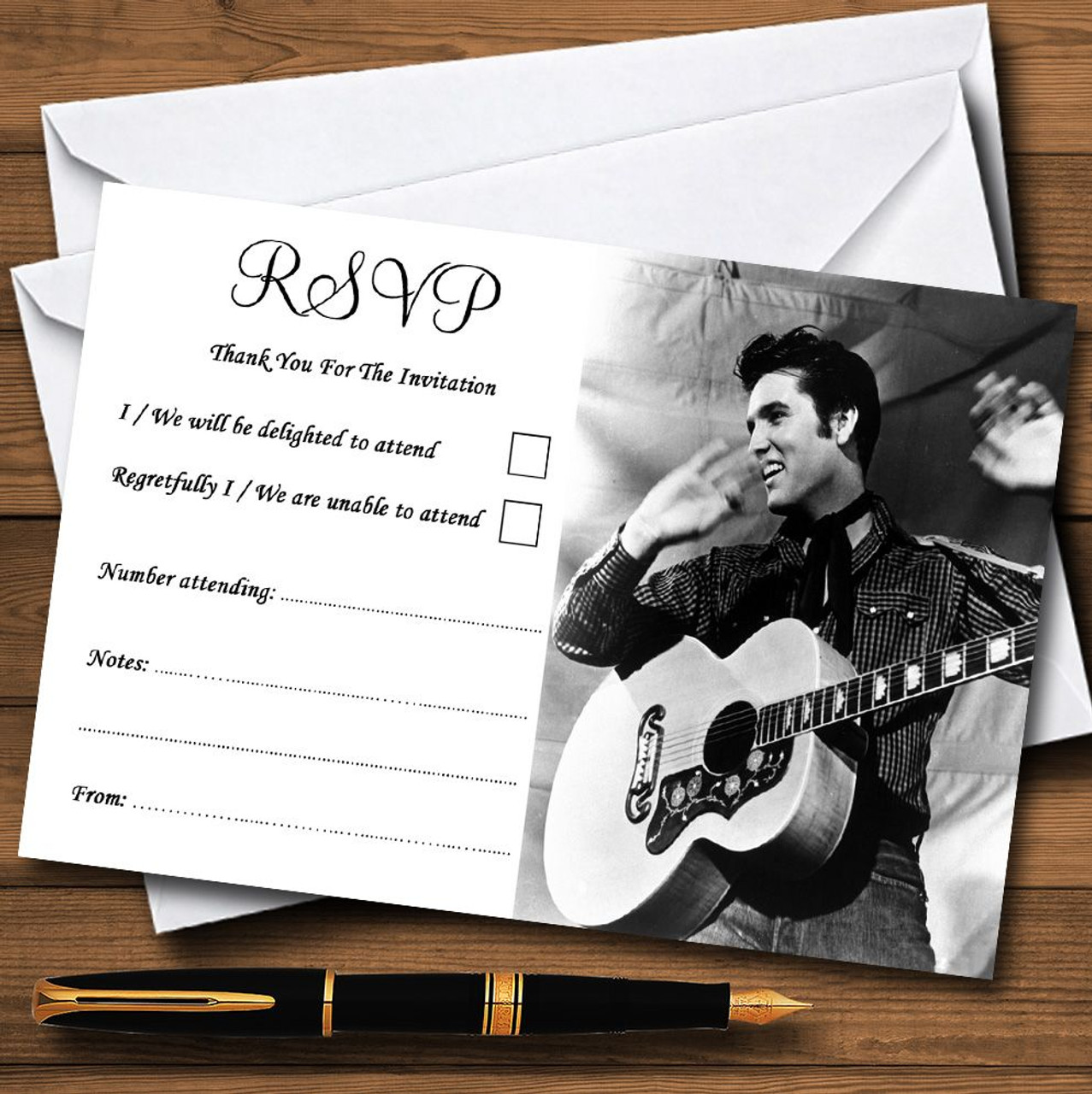 Elvis Presley Personalised Party Thank You Cards