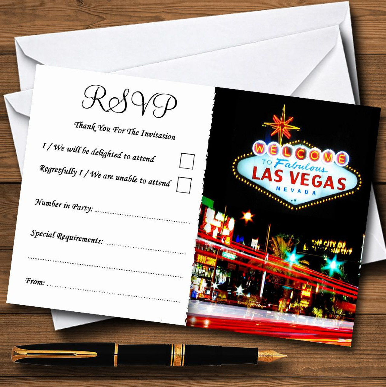 Las Vegas Strip Personalised RSVP Cards
