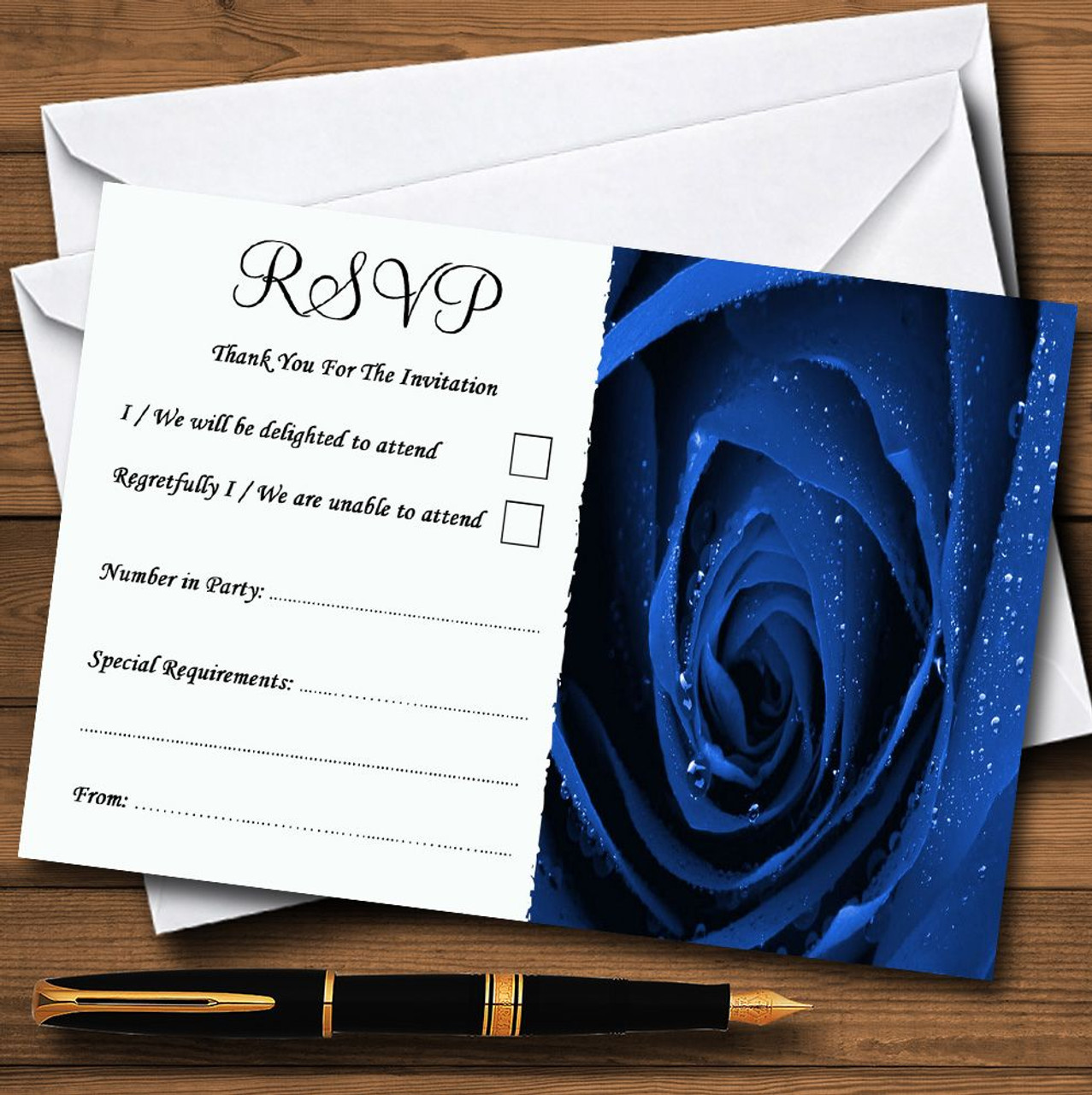envelope wedding invitations Thank you cards Baby Blue Rose Personalised A6